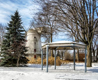 Old windmill. In Lachine Quebec on a cold winter day with a blue sky royalty free stock image