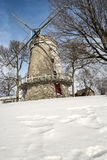 Old windmill. In Lachine Quebec on a cold winter day with a blue sky stock photography