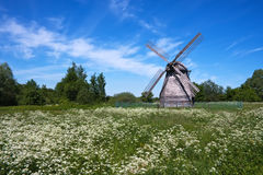 Old windmill on a meadow Royalty Free Stock Images