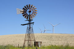 Old and new windmills. Stock Images