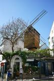 Old Windmill Montmartre Paris France. Old windmill named Le Radet and the restaurant Le Moulin de la Galette in Montmartre. Paris, France. April 2015 Stock Images