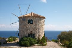 Old windmill near of Mediterranean sea Stock Images