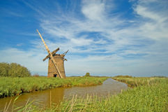 Old windmill and norfolk landscape Royalty Free Stock Image