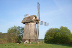 Old windmill in the reserve Mikhailovskoye, may morning. Pushkinskiye Gory Royalty Free Stock Photos