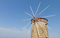 Old windmill at Rhodes island in Greece Stock Image