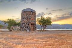Old windmill ruin at Mirabello Bay. On Crete, Greece Stock Photos