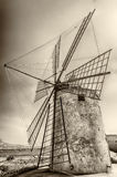 Old Windmill for Salt Production, Sicily Royalty Free Stock Photo