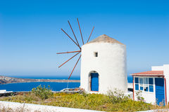 Old windmill on Santorini island, Greece Stock Photos