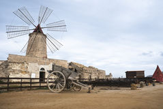 Old windmill in sicily, trapani Royalty Free Stock Image