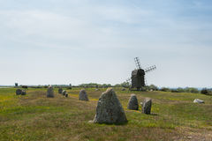 Old windmill in spring, Sweden Royalty Free Stock Images