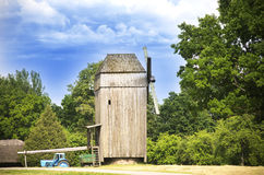 Old windmill on sunny day, Lithuania Stock Photo