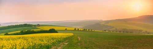 Old windmill at sunset. Spring landscape. Moravia fields panoram Royalty Free Stock Photos