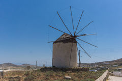Old windmill in Town of Ano Mera, island of Mykonos, Greece Royalty Free Stock Image