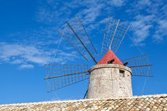 Old windmill on the Trapani salterns, Sicily Stock Photos