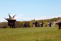 Old windmill in the village, Pirogovo, Ukraine. Royalty Free Stock Image