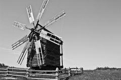 Old windmill in the village, Pirogovo, Ukraine. Royalty Free Stock Image