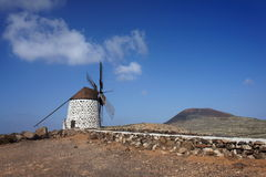 Old windmill in Villaverde, Fuerteventura. Canary Islands royalty free stock photo