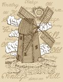 Old windmill with white clouds against the background with vintage lettering. Black vintage engraving, hand drawn design illustrations for label, poster. Rural Stock Photos