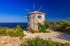 Old windmill on Zakynthos island Stock Photography