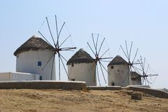 Old windmills. On the island of Mykonos, Greece. These were once used to grind grains royalty free stock image