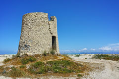 Old Windmills at the Agios Ioannis beach, Lefkada, Ionian Islands, Royalty Free Stock Images