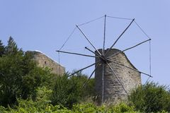 Old windmills on Crete Stock Photo
