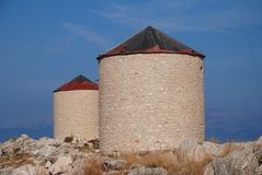 Old windmills, Halki island Royalty Free Stock Photos