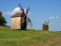 Old windmills in Pirogovo, Ukraine Stock Photo