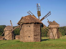 Old windmills in Pirogovo, Ukraine Royalty Free Stock Images