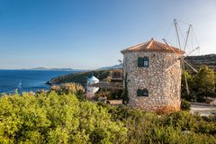 Old windmills on Skinari, Zakynthos island, Greece royalty free stock photos
