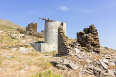Old windmills in Tinos Island,Greece Stock Photo