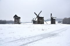 Old windmills, winter Stock Photography