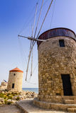 Old windmils on Rhodes Stock Images