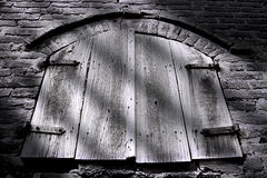Old window. Old wood window with parallel shadows Royalty Free Stock Photography