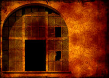 Old window. Computer designed grunge textured background - Window on the old industrial building royalty free stock image