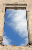 Old window. Old wall with sky through window Royalty Free Stock Image