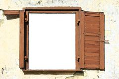 Old Window. Dilapidated window with white text box Royalty Free Stock Images