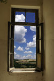 Old window. An old window and greek blue sky stock photography