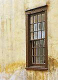 Old Window. Side view of old window with moist on wall stock image