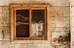 Old window. With broken glass Royalty Free Stock Images