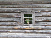Old window. Wall of old house with single window Royalty Free Stock Photo