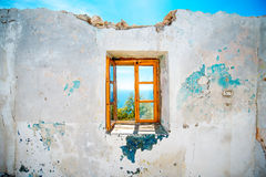 Old window in abandoned house Stock Photo