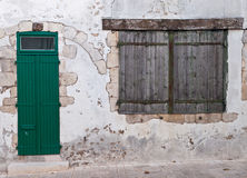 Old Window And Door With Wooden Shutters Royalty Free Stock Photography