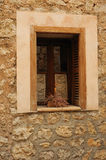 Old window. In a beauty village Soller in Mallorca Stock Images