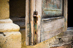 Old window bolt. Outdoor view Stock Photos