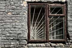 Old window and brick wall Royalty Free Stock Images