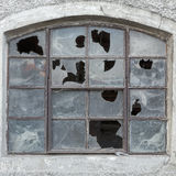 Old window with broken glass Royalty Free Stock Image