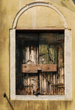Old window. Closed with the wooden shutters and a dove sitting on the window stool Stock Photo