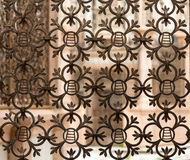 Old window covered with a metal grate in Italy. Old window covered with a metal grate in Italy royalty free stock photo
