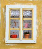 Old window. Decorated old window in Europe Stock Image